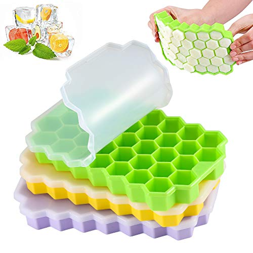 LessMo 3 Piezas Moldes y Bandejas para Hielo, Moldes para Cubitos de Hielo Bandejas Flexibles de Silicona para 74 Hielos con Tapa Extraíble Resistente a Derrames, Apilables y Sin BPA