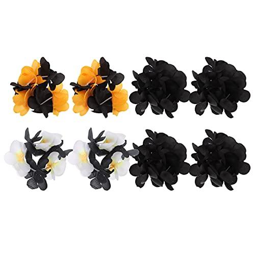 ABOOFAN Pulsera con diseño de flores para Halloween, 4 pares, talla única, ideal para fiestas de Halloween, bodas, Navidad, disfraces de cosplay, bailes, graduación