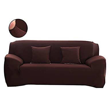 WATTA Brown 3 Seater Stretch Elastic Polyester Spandex Slipcover