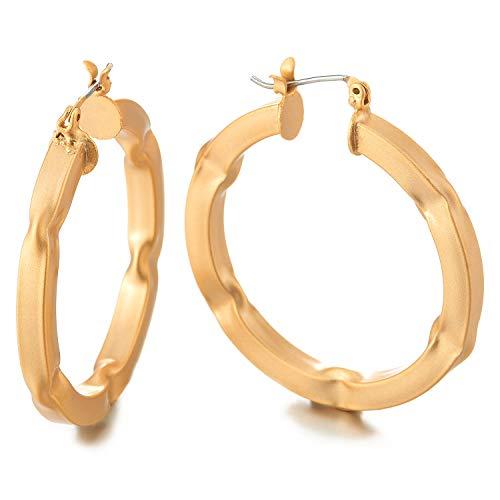 Guldfärg konkav prickig cirkel huggie gångjärn ring uttalande örhängen, matt, elegant mode bal