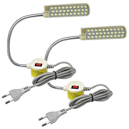 Bonlux 2-Unidades 30 LEDs 2W 180LM Lámpara Luz Fría para Máquina de Coser, con Cuello de Cisne Flexible, Base Magnética de Montaje, Luz para Trabajo Taller, Trabajos Artesanales o Manuales