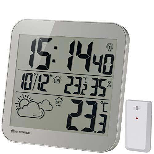 Bresser Wanduhr MyTime LCD Wetter-Wanduhr mit Außensensor, grau