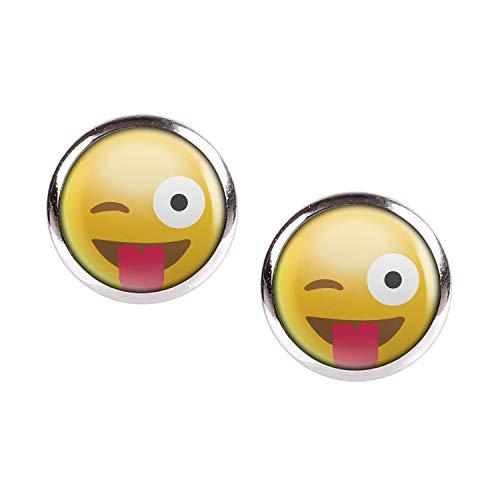 Mylery Ohrstecker Paar mit Motiv Emoji Smiley Smilies Gesicht Nr. 10 silber 12mm