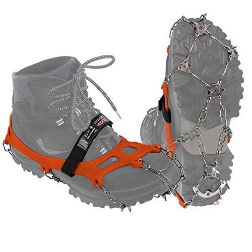 ALPIDEX Grödel Steigeisen für Bergschuhe mit Edelstahlspikes 21 Zähne Schuhkrallen Schuhspikes Crampons Klettern Bergsteigen Trail Running Winter Outdoor, Größe:S, Farbe:orange