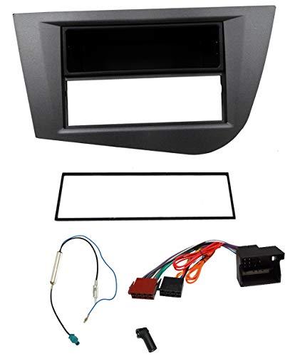 AERZETIX - Kit de Montaje de Radio de Coche estándar 1DIN - Marco, Cable Enchufe y adaptadores de Antena - Gris - C3267A