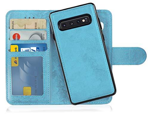 MyGadget Flip Hülle Handyhülle für Samsung Galaxy S10 - Magnetische Hülle aus Kunstleder Klapphülle - Kartenfach Schutzhülle Wallet - Hell Blau