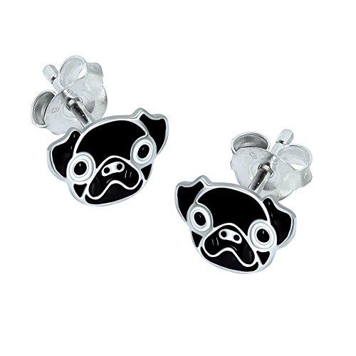 Black Pug Head Earrings - Sterling Silver Gift
