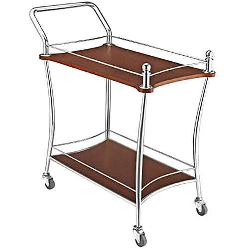 Carrito de vino de madera maciza de dos niveles fácil de mover con 4 ruedas servicio de habitación de hotel carrito móvil carrito de cocina carrito de catering carrito de barra de té