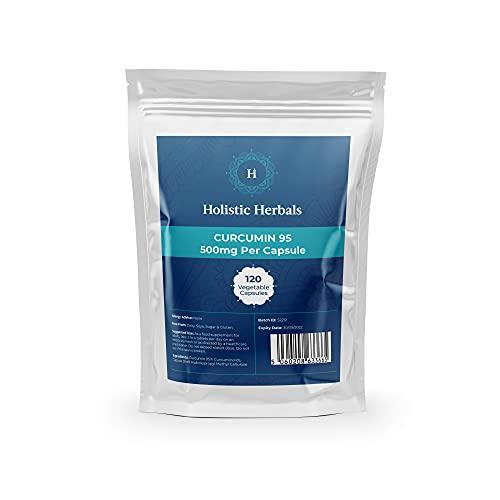 Curcumin 95 by Holistic Hebals   95% Curcuminoids   Turmeric Extract   100% Natural   High Strength Fast Absorption   120 Veg Capsules
