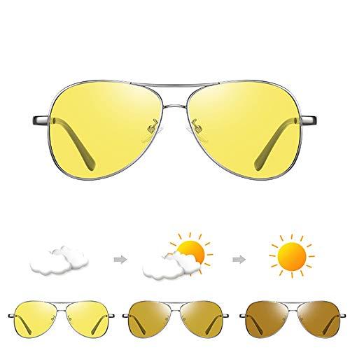 Bseack Polarisierte Sonnenbrille Night Vision Sonnenbrillen for Männer Lernbare Flexible Rahmen Adaptive Farbwechsel polarisierte Sonnenbrille Tag und Nacht UV400 Schutz for Golf Angeln