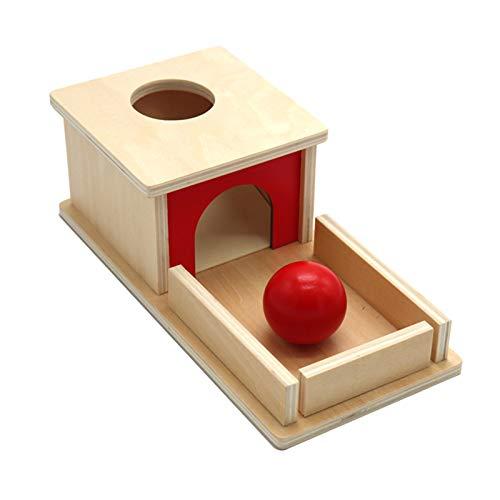 laoonl Holzball Streichholzschachtel,sensorische Pädagogische Spielzeug, Objektpermanenz Box, Mit Tablet Und Ball Matching Game Kinder Familie Vorschule Kleinkind Training