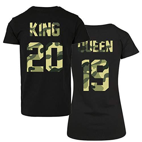 CVLR King Queen - Juego de camisetas para parejas, dos camisetas con número personalizado, camisetas con el amor, parejas, color negro y camuflaje Negro Large