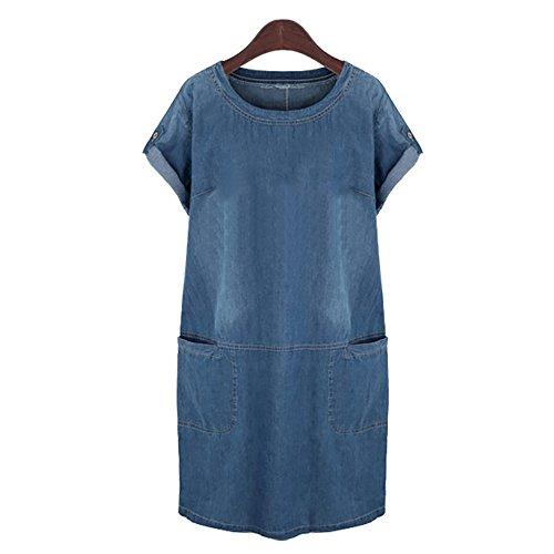 OMUUTR Damen Elegant Jeanskleid Blusenkleid Kleid Minikleid Denim Jeans Kleider Loose Hemdkleid Knielang Rundhals Kurzarm A-Linie Sommer Halbe Perlen Strandkleid Abendkleid