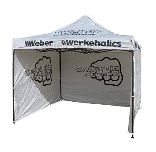 Weber #Werkeholics Easy-Up Zelt 3 x 3 m inkl. 3 Seitenwände grau
