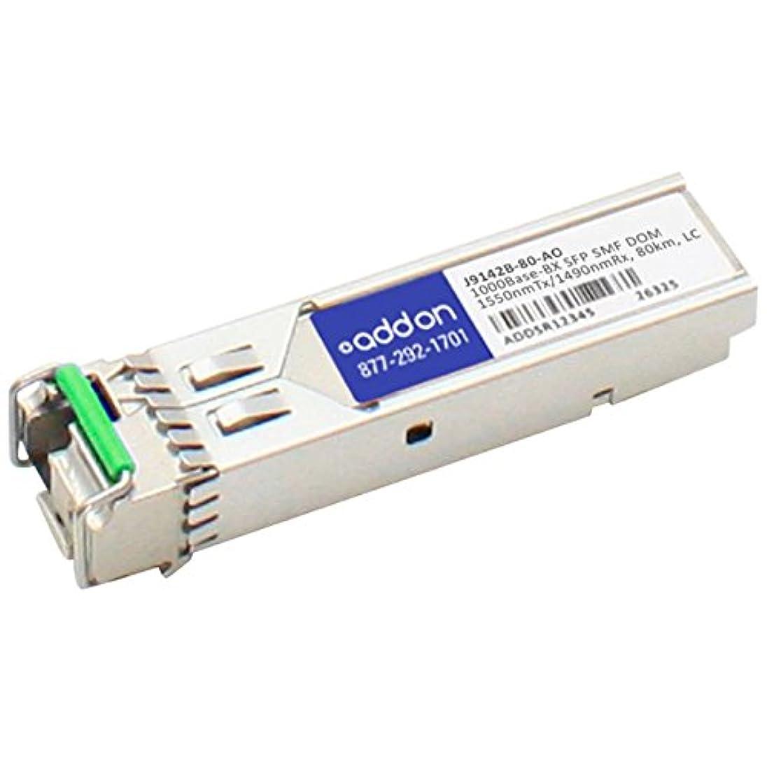 彼らは満員透過性AddOn - SFP (mini-GBIC) transceiver module ( equivalent to: HP J9142B ) - Gigabit Ethernet - 1000Base-BX - LC single mode - up to 49.7 miles - 1550 (TX) / 1490 (RX) nm - for HPE 1410, 1700,
