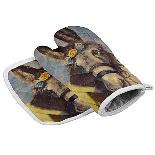 Heat Resistant Oven Mitt Pot Holders Set Loyal and Honest Donkey Quilted Cotton Lining with Non-Slip Surface Kitchen Oven Mitt for Cooking Baking Grilling