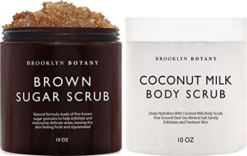 Brooklyn Botany Brown Sugar Body Scrub & Coconut Milk Body Scrub - Exfoliating Body and Face Scrubs – Anti Cellulite Scrub for Stretch Marks, Cellulite and Spider Veins – Gift for Women - 10 oz