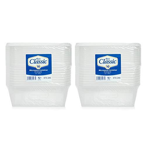 Lot de 20 boîtes alimentaires en plastique avec couvercles - Résistantes - Transparentes - 1000 ml