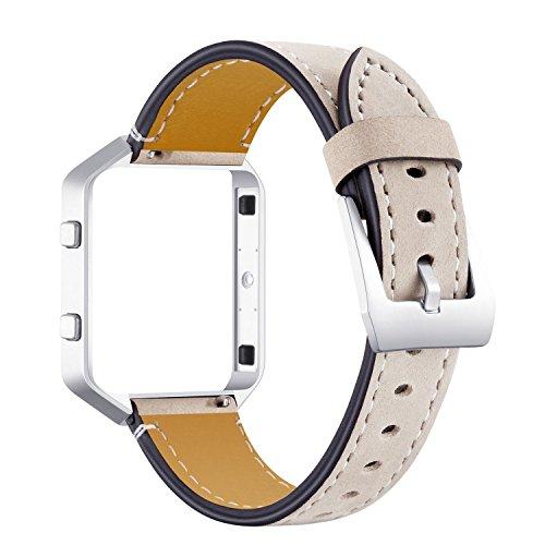 AISPORTS - Correa de piel para Fitbit Blaze con marco de metal, correa de repuesto ajustable para reloj inteligente Fitbit Blaze