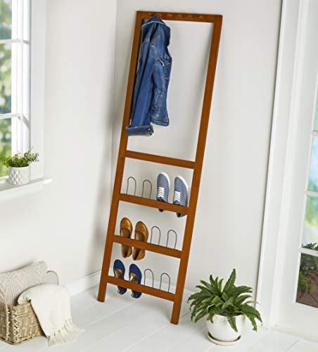 The Lakeside Collection Leaning Shoe Rack, Coat Hat Organizer for Entryways - Tall Storage - Walnut
