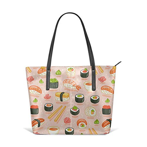 Cute Japanese Best Sushi Chopsticks Rice Black Men Women Leather Tote Bags Satchel Top Handle Cross Body Shoulder Hobo Handbags For Ladies Shopping Bag Office Briefcase