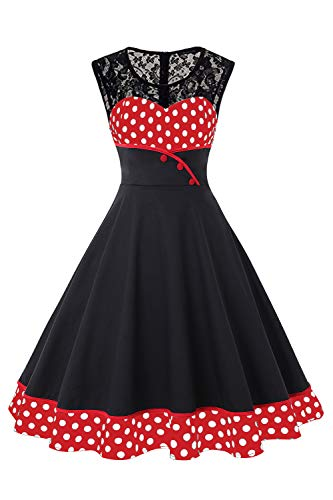MisShow Damen elegant Vintage 50er Jahre Kleider mit Petticoat Ärmellos Festliches Cocktailkleid Punkt Kleid Rot M