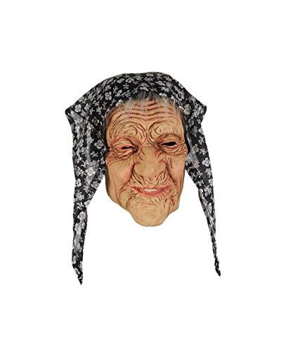 Masque latex de grand mère avec foulard sorciere masques de deguisement