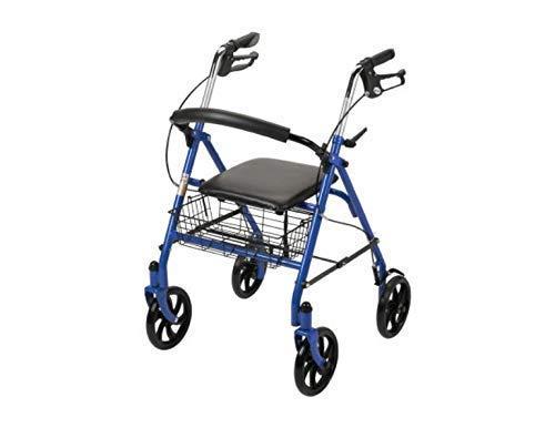 "4 Wheel Rollator, Folding Blue Steel Frame, 7 1/2"" Wheels, Adjustable 31"" to 37"""