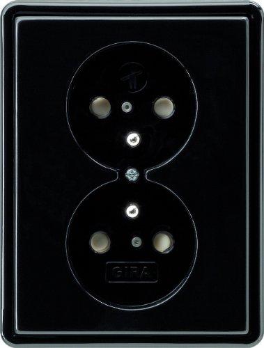 Gira 079547 dubbel stopcontact aardestift kinderbeveiliging S, zwart