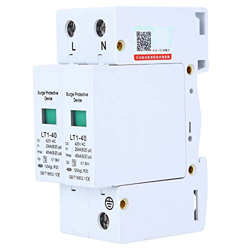AMONIDA 2P LT1‑40 Überspannungsschutz 40ka Schutzmodul Geräte Niederspannungsableiter Weiß Elektrotechnische Anwendungen