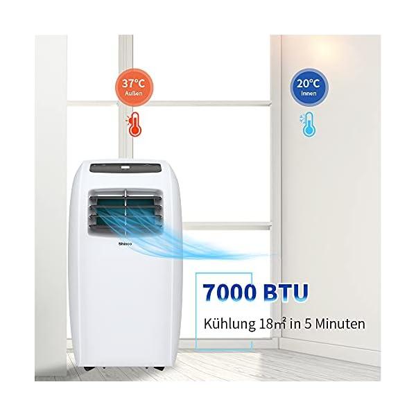 Shinco 7000BTU Condizionatore Portatile, 2,1kW, 3 in 1 con Tubo di Scarico, Raffreddamento, Deumidificazione e Ventilazione, Eco R290 2 spesavip