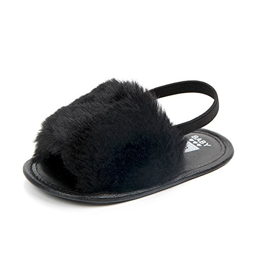 HONGTEYA Baby Girls Sandals Soft Soled Faux Fur Infant Toddler Summer Baby Moccasins Shoes Slippers (0-6 Months /3.5 M US Infant,Black)