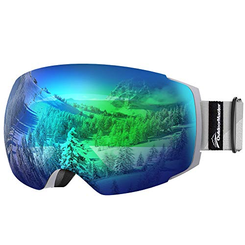 OutdoorMaster Ski Goggles PRO - Frameless, Interchangeable Lens 100% UV400 Protection Snow Goggles for Men & Women ( Grey Frame VLT 18% Grey Lens with Full REVO Green and Free Protective Case )