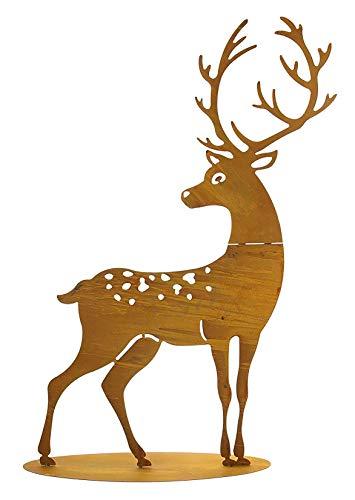 großer Metall-Hirsch im Rost-Design, für Innen + Außen geeignet, Gartendeko, Deko-Figur