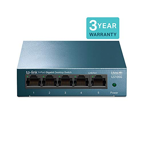 TP-Link LS105G 5-Port Desktop/Wallmount Gigabit Ethernet Switch, Stahl-Gehäuse