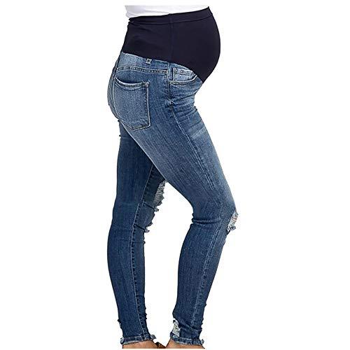 DAY8 Jeans Premaman Skinny Strappati Pantaloni Premaman Donna Inverno Regolabili Pantalone Tuta Donna Gravidanza Denim Vita Alta Taglie Forti Eleganti Casual (Blu, XL)
