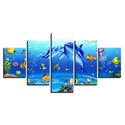 BXZGDJY Wandkunst Leinwand Bilder Wohnzimmer Dekor 5 Stück Unterwasser Welt Gemälde Drucke Delfine Korallen Rifffische Poster 200X100CM Bild Bilder auf Leinwand 5 teilig Poster für Home Wohnzimmer B