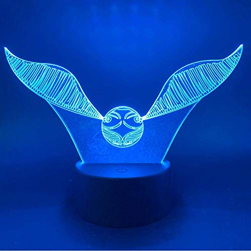 Novedad Luces de noche 3D Harry Potter Golden Snitch Gifts Luces de decoración de dormitorio para niños Luces de noche LED con pilas o USB