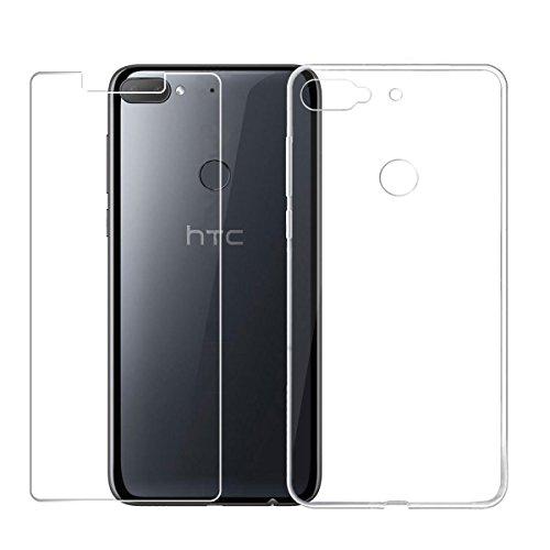 LJSM HTC Desire 12+ / HTC Desire 12 Plus Hülle Transparent + Panzerglas Bildschirmschutzfolie Schutzfolie - Weich Silikon Schutzhülle Crystal Flexibel TPU Tasche Schale Hülle für HTC Desire 12+ (6.0