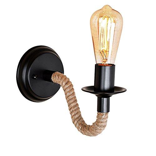 E27 rétro industrielle corde mur lampe Creative allée grenier garage sous-sol mur lumière maison décoration intérieure mur de fer applique,Black