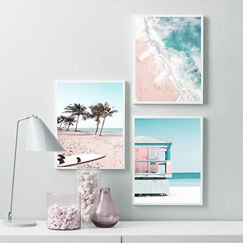 VVSUN Moderno Tropical Sea Beach Tabla de Surf Arte de la Pared Pintura en Lienzo Póster nórdico e Impresiones para la decoración de la Sala de Estar 50X70cm 20x28 Pulgadas x3 Sin Marco