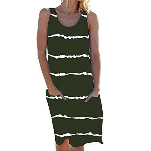 HUPAI Women's Summer Dresses Sleeveless Crewneck Striped Plus Size Casual Loose Dress with Pockets (5XL, 1-Army Green)