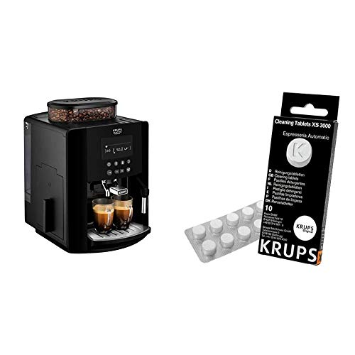 Krups Arabica Digital, Bean to Cup, Coffee Machine, Black & XS3000 Cleaning Tablets