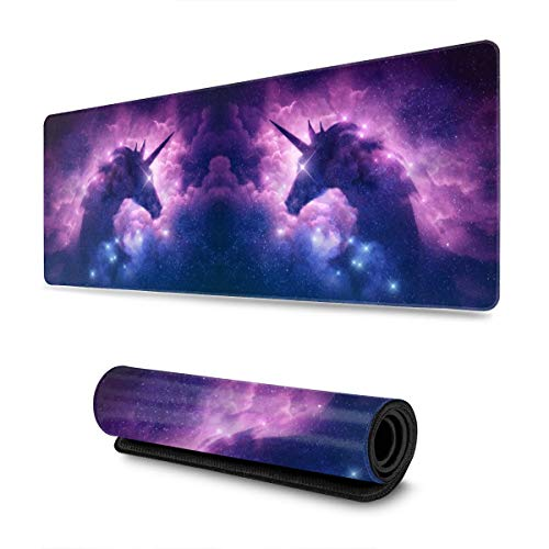 Galaxy Unicorn Purple Nebula Large Gaming Mouse Pad with Stitched Edges (31.5x11.8In), Extended Mousepad Non-Slip Rubber Base Keyboard Mat Desk Pad for Work Gaming