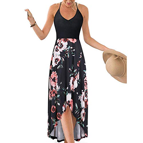 Kansopa V Neck Sleeveless Strap Open Back Casual Summer Sundresses Asymmetrical Patchwork Floral Maxi Dresses