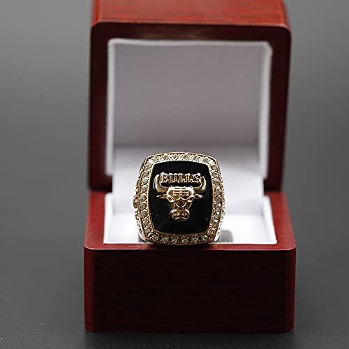 JinYuan NBA 1991 Michael Jordan Chicago Bulls Championship Ring Copy Fan Collection, Caja, 11号 Ring + holzkiste