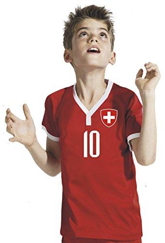Aprom-Sports Schweiz Kinder Trikot - Hose Stutzen inkl. Druck Wunschname + Nr. RWR WM 2018 (128)