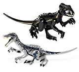 Set of 2 Large Jurassic Dinosaur Toys for 3-5 & 5-7 Baryonyx and Velociraptor Dinosaur Building Blocks with Movable Limbs - Dino Toys for Boys & Girls with Storage Bag and Sticker Sheets!