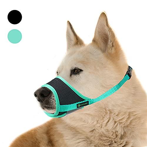 ILEPARK Maulkorb für Hunde mit atmungsaktivem, Weichem Netzstoff, Verhindert Beißen und Bellen - Verstellbare Schlaufe für Große, Mittelgroße und Kleine Hunde (S,Grün)