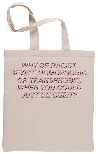 Why Be Racist Einkaufstasche Beige Shopping Bag Beige
